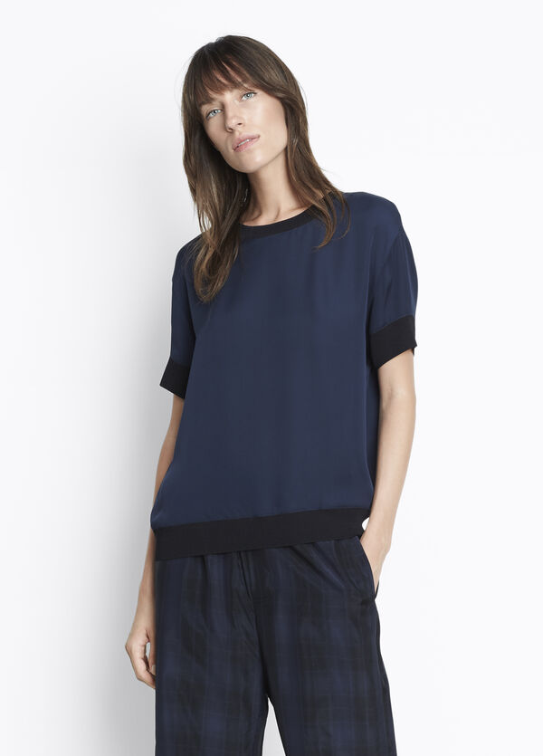 Contrast Rib Trimmed Tee