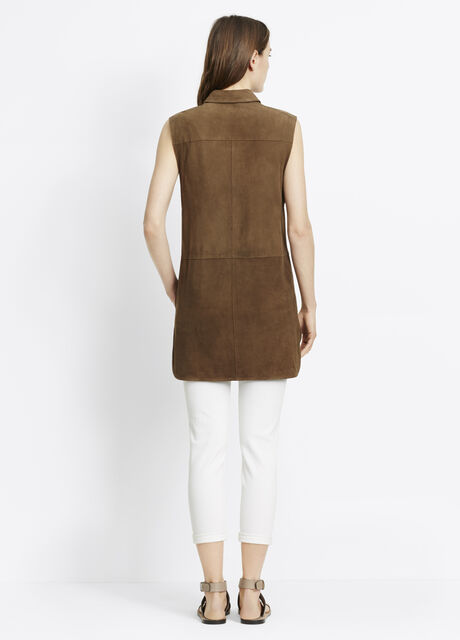 Suede Sleeveless Button Up Tunic