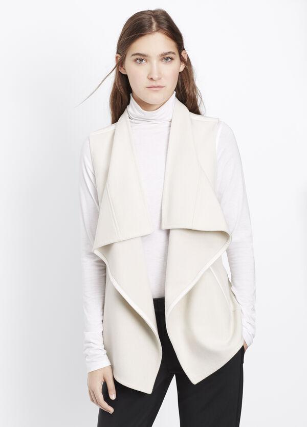 Wool Blend Drape Neck Vest With Leather Trim
