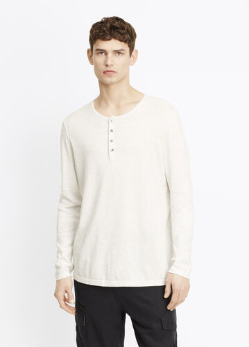 Sporty Jaspé Mix Stitch Long Sleeve Henley