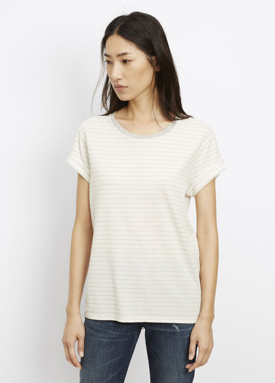 Speed Stitch Stripe Tee With Rolled Sleeves
