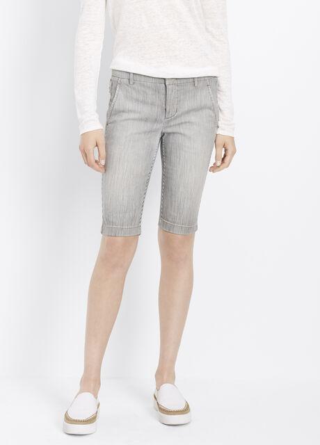 Denim Bermuda Shorts With Side Buckles