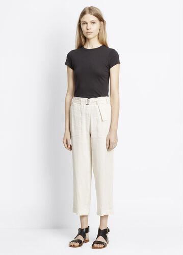 Linen Blend Belted Culotte