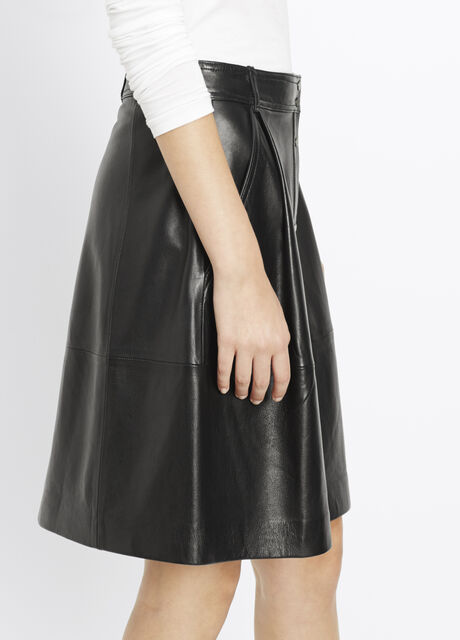 Leather Snap Front Skirt