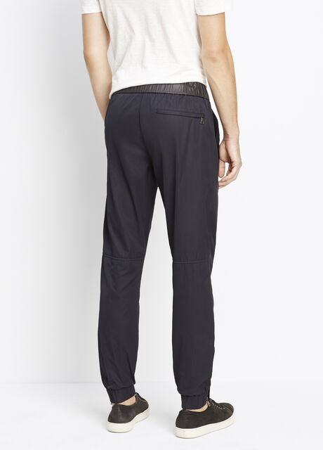 Nylon Twill Tech Jogger With Leather Waistband
