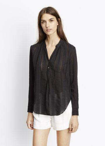 Cotton Dobby Shirred Neck Long Sleeve Blouse