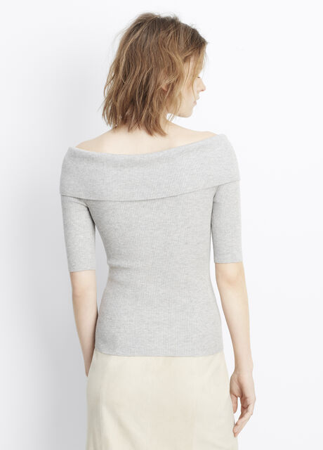 Skinny Rib Off-The-Shoulder Elbow Sleeve Pullover