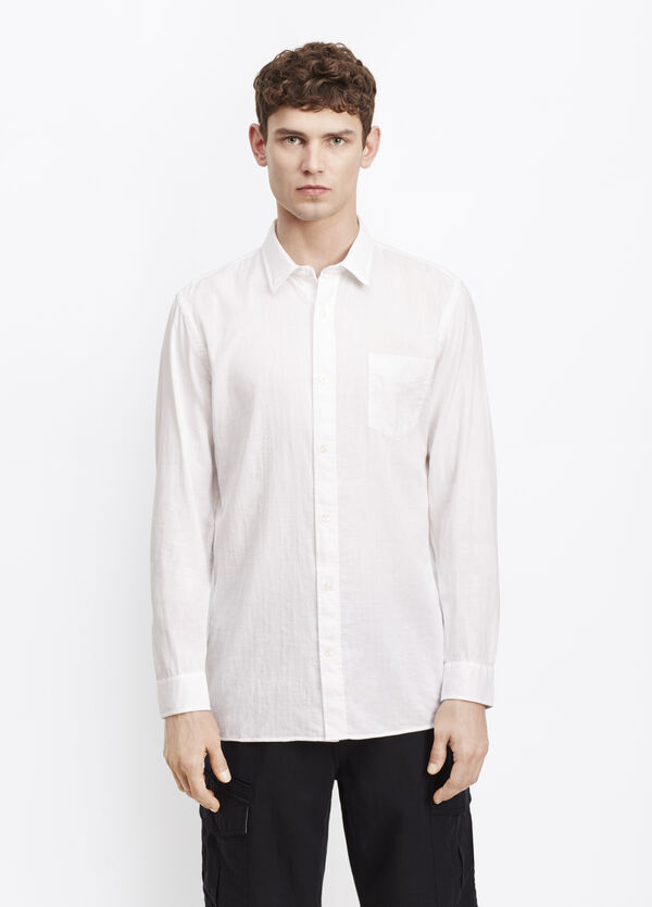 Melrose Double Weave Square Hem Button Up