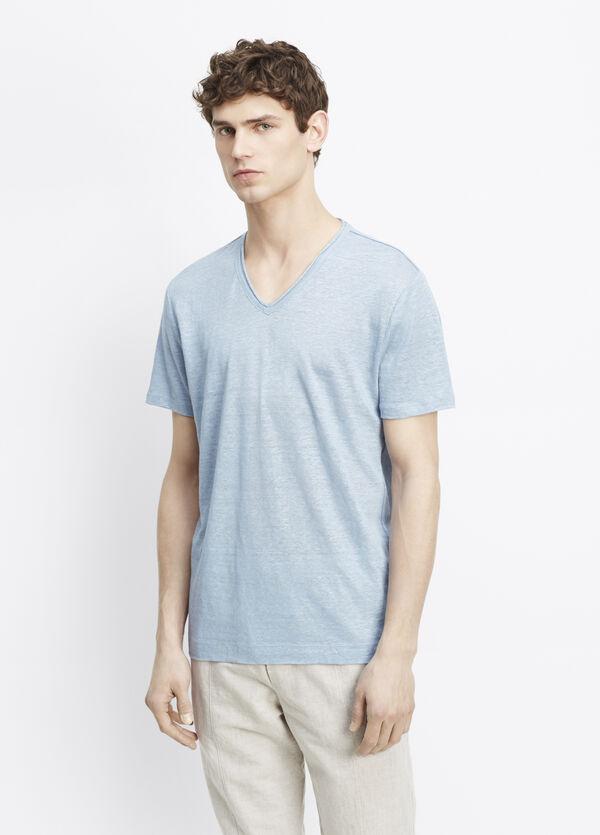 Linen Short Sleeve V-Neck Tee