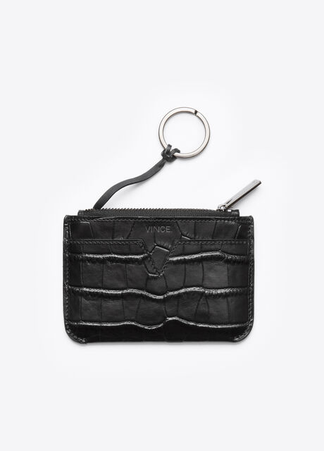 Vince Signature Collection Stamped Croc Key Pouch
