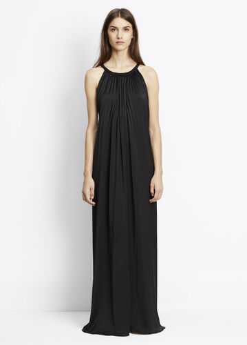 Washed Satin Sunburst Pleated Maxi Dress