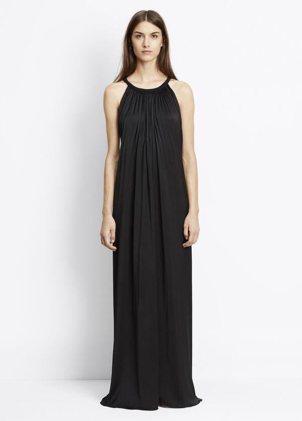 Washed Satin Sunburst Pleated Maxi Dress