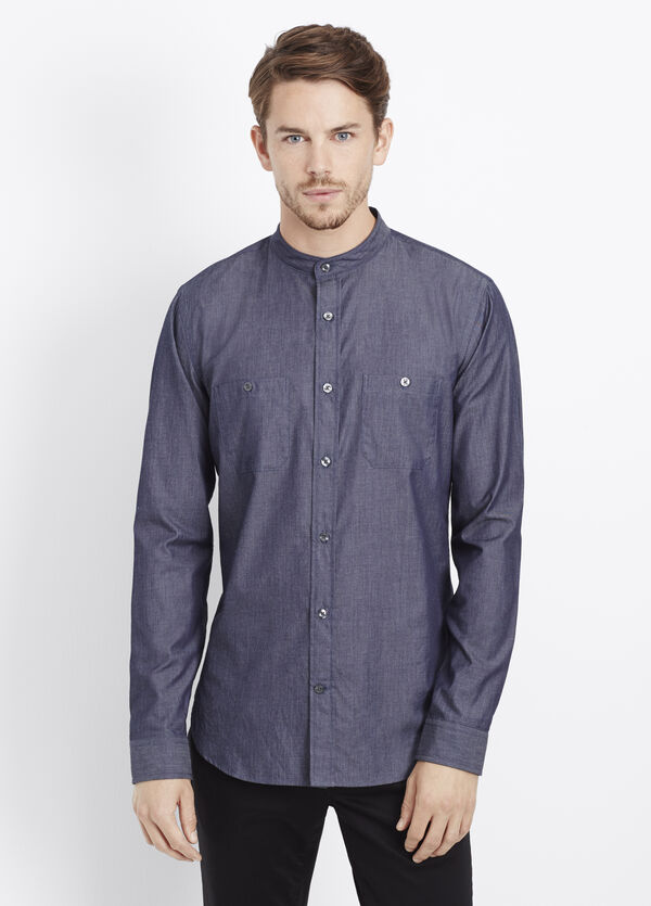 Chambray Banded Collar Button Up