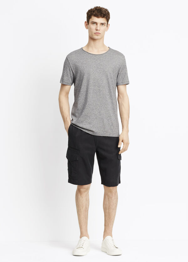 Linen Blend Asymmetric Pull-On Cargo Short