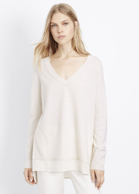 Wool Cashmere V-Neck Sweater With Silk Contrast