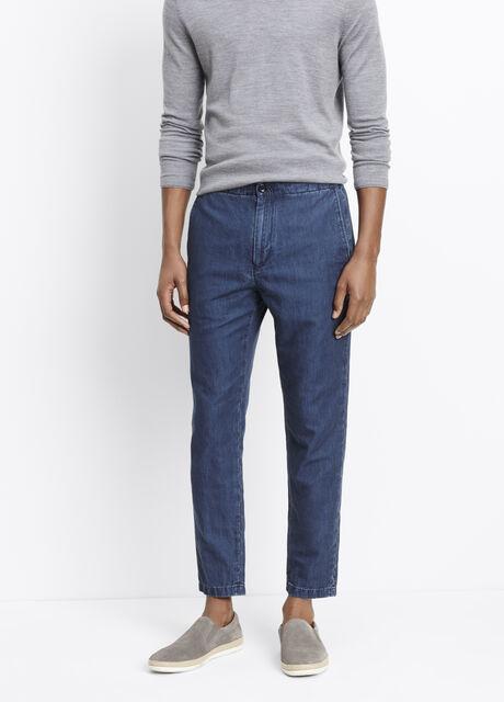 Cotton Linen Indigo Urban Cropped Trouser