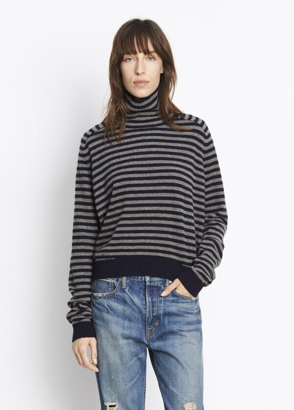 Cashmere Breton Stripe Turtleneck