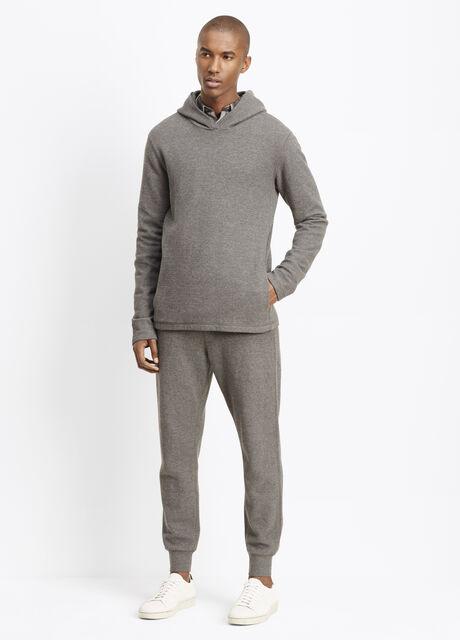 Slub Cotton Racking Stitch Thermal Hooded Sweater