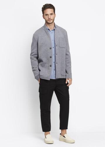 Wool Blend Three Button Blazer