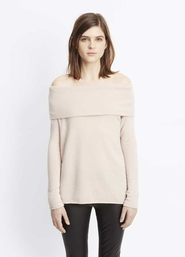 Cashmere Off-The-Shoulder Relaxed Pullover Sweater