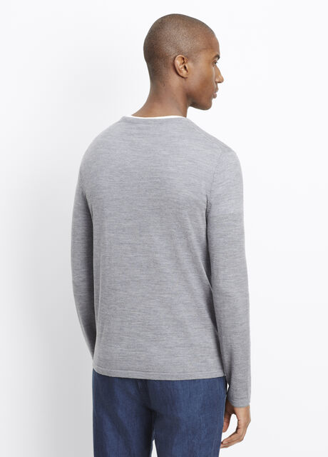 Wool Silk Jersey Long Sleeve V-Neck Sweater