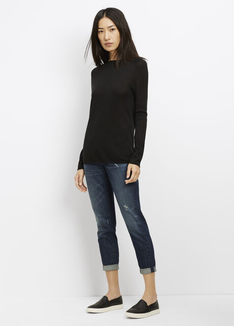Silk Cashmere Rolled Seam Funnel Neck Sweater