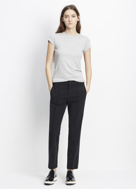 Cupro Cotton Fitted Pintuck Trouser
