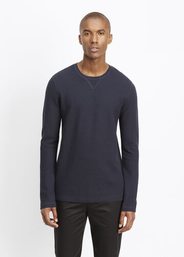 Slub Cotton Racking Stitch Thermal Crew Neck Sweater