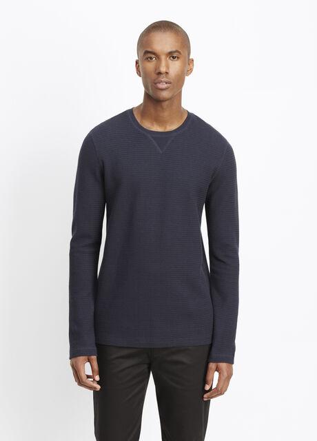 Slub Cotton Racking Stitch Thermal Crew Neck Sweater