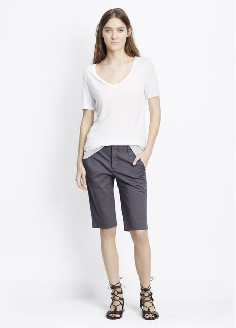 Stretch Cotton Twill Bermuda Shorts With Side Buckles