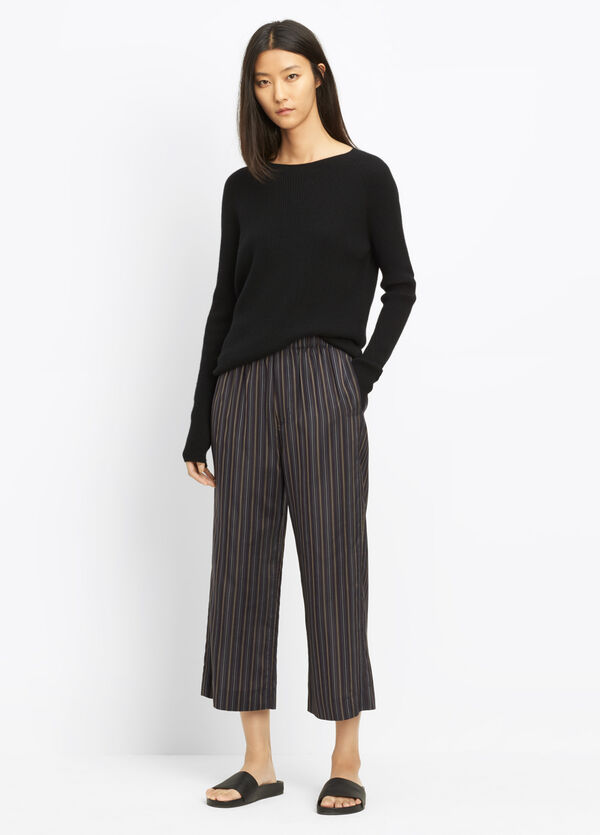 Stripe Slouchy Pull-On Crop