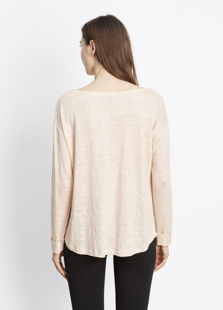 Linen Rolled Three-Quarter Sleeve Tee