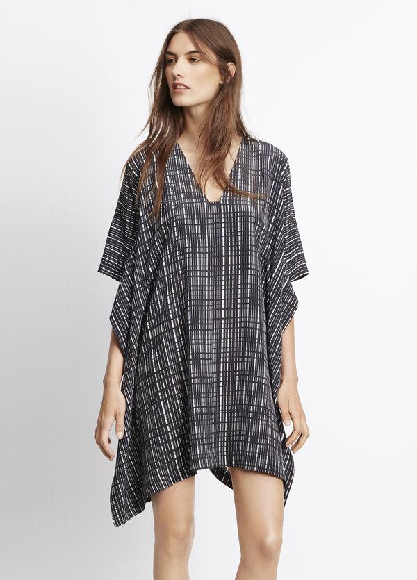 Interlace Print Silk V-Neck Poncho Dress