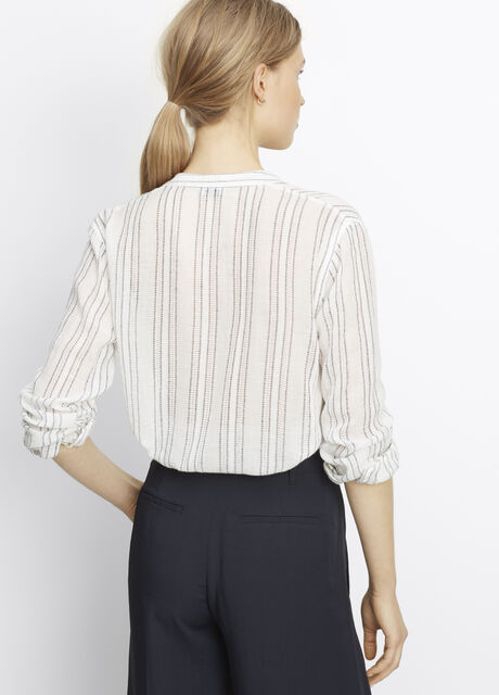 Stripe Split Neck Button Up