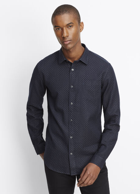 Melrose Cotton Double Face Geo Print Button Up