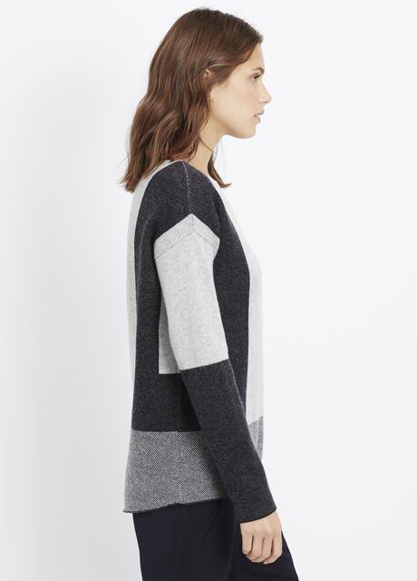 Wool Cashmere Intarsia Colorblock Sweater