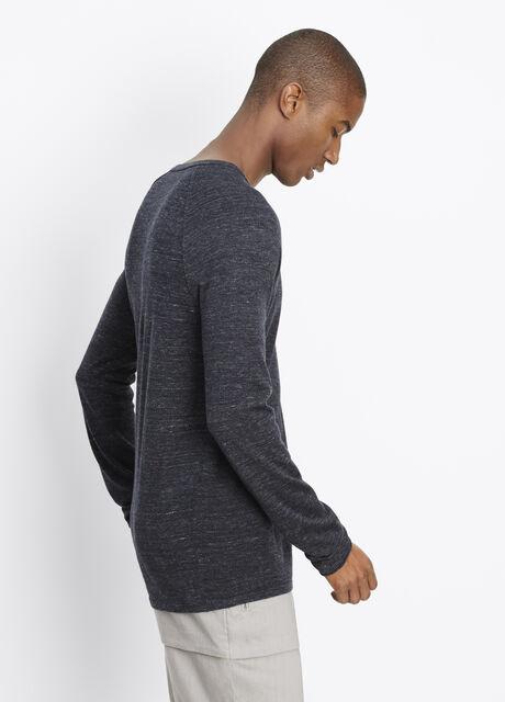 Sporty Jaspé Pique Panel Lightweight Sweater