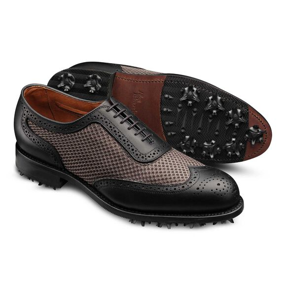 Double Eagle Golf Shoes, 6411 Black Outland Leather / Grey Mesh, blockout