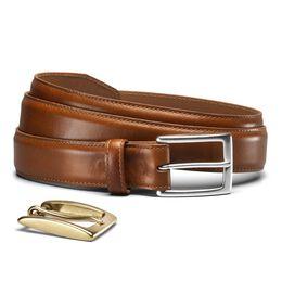 Poplar Dress Belt, Walnut Leather, blockout