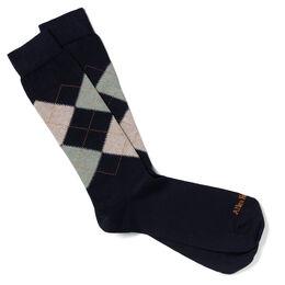 Argyle Cotton Fashion Socks, Green/Tan Argyle, blockout