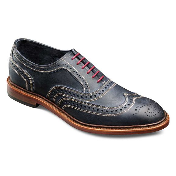 Neumok Wingtip Oxfords, 4065 Navy Distressed Leather, blockout