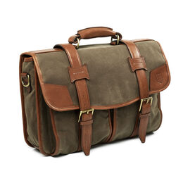 Canvas/Leather Double Flap w/Leather Bottom, Canvas/Leather Double Flap w/Leather Bottom, blockout