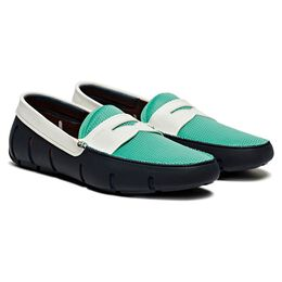 Penny Pool Shoes by SWIMS, 201-170 Navy/Green, blockout