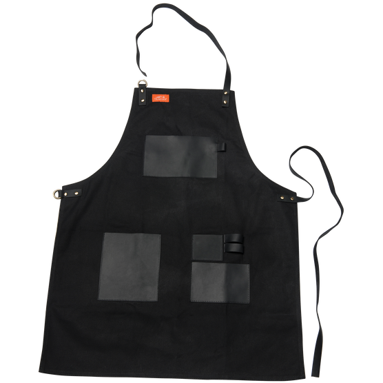 Apron - Black Canvas & Leather