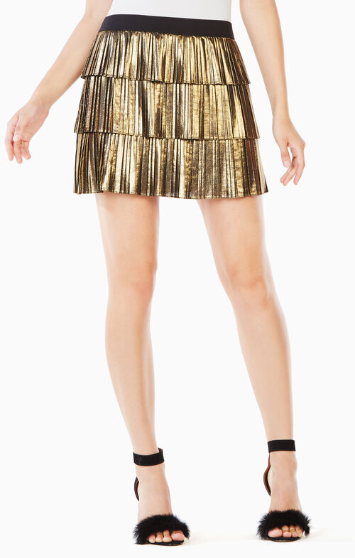 Zana Pleated Metallic Skirt
