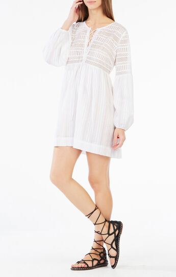 Evanne Lace-Up Peasant Dress