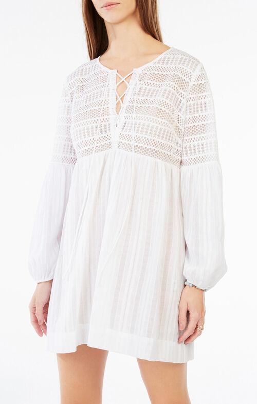 Evanne Lace-Up Peasant Dress