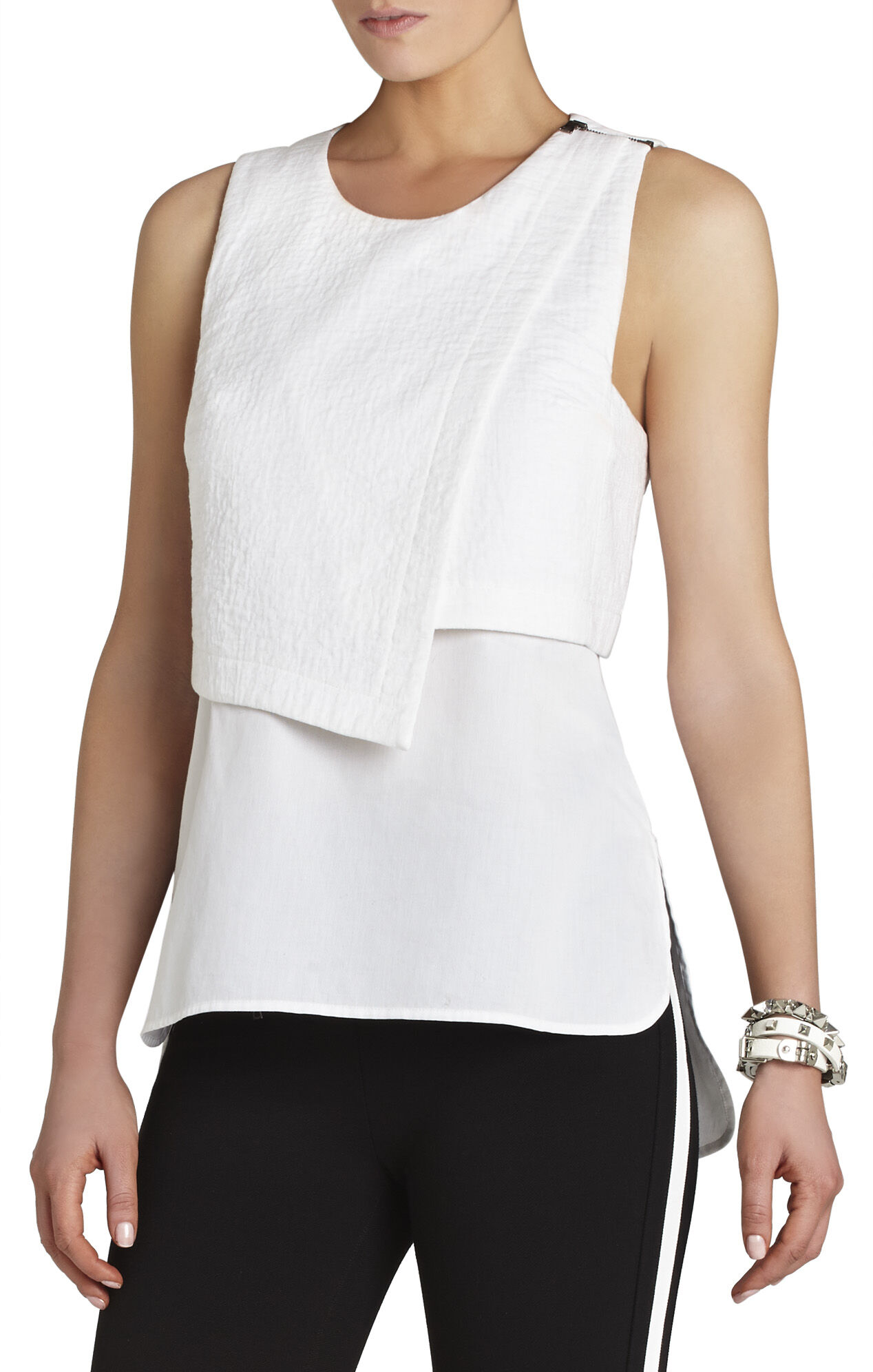 Alyssa Sleeveless Asymmetrical-Overlay Top