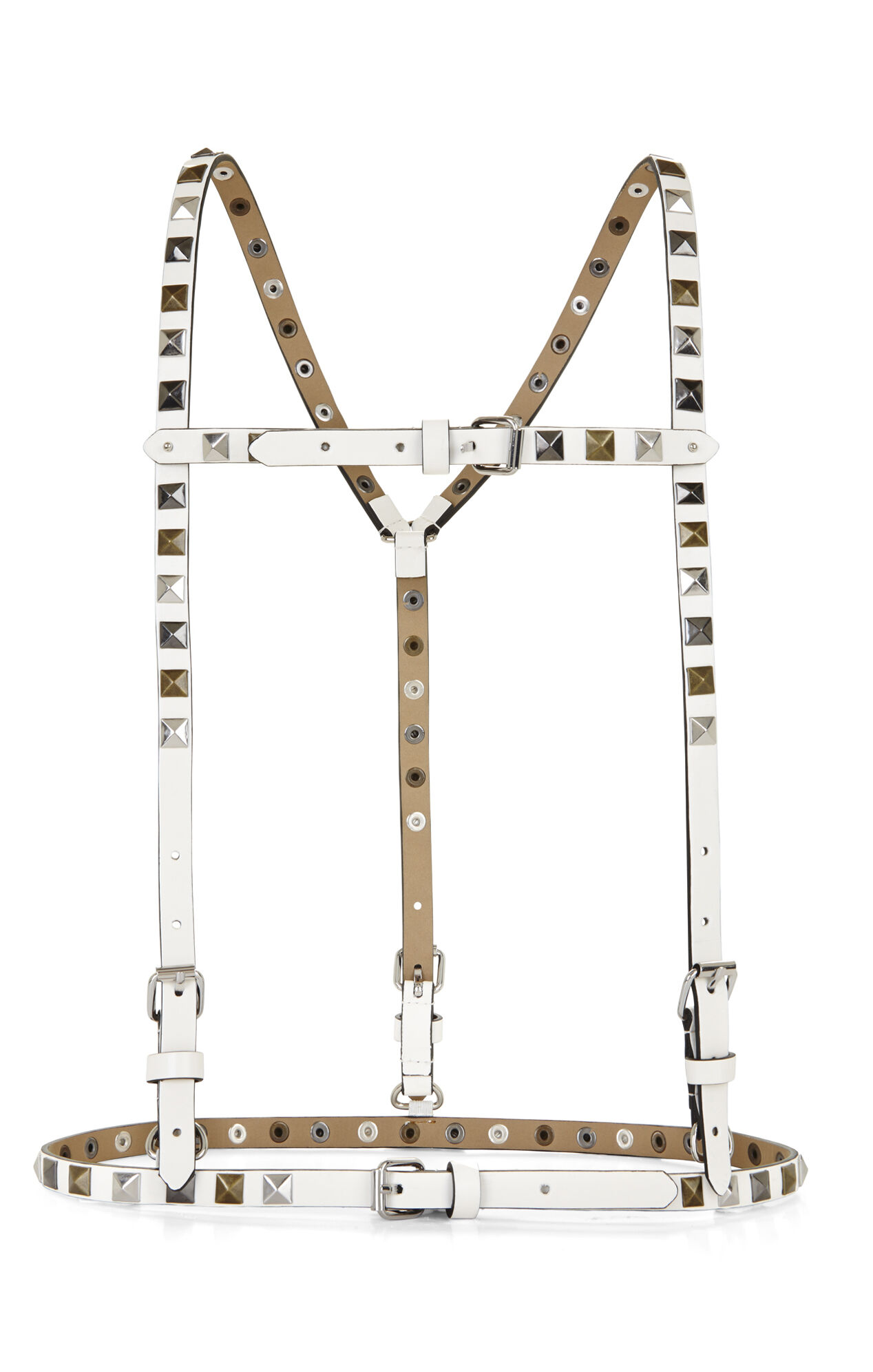 Multifinish Studded Suspender-Harness Waist Belt