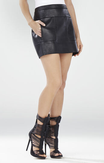 Desyree Patch Pocket Leather Miniskirt